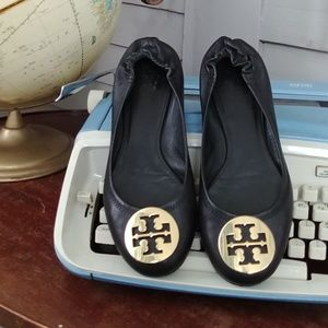 Tory Burch black leather flats gold metal detail